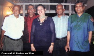 Prema Cooray with his brothers and sister