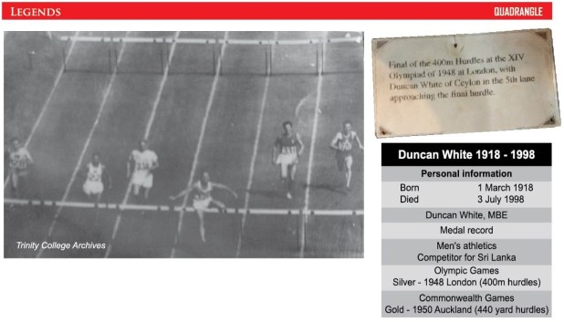 Duncan White at 1948 Olympics (Photograph courtesy of Trinity College Archive)