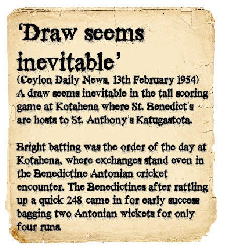 St. Benedict's Vs St. Anthony's 1954 Cricket Encounter - Ceylon Daily News