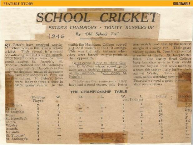 1946 Schools Cricket final standing