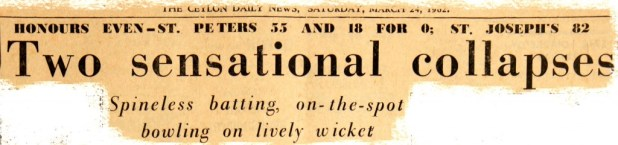 Newspaper headlines after 1st day's play - 1962 Battle of the Saints