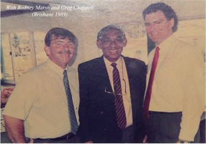 Mahinda with Rodney Marsh and Greg Chappell