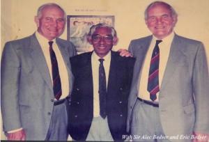 Mahinda with Sir.Alec Bedser and Eric Bedser