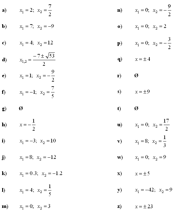 Quadratic Equation Questions with Solutions