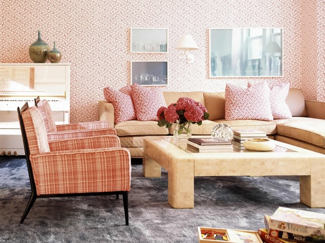 Living Room Interior With Pink Decor Spring Fashion At Home By Elle Pop Of