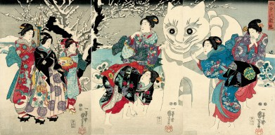 Amusements of the First Snow Fall. Utagawa Kuniyoshi