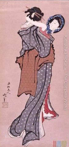 Bijinga. Mulher olhando no espelho. Katsushika Hokusai
