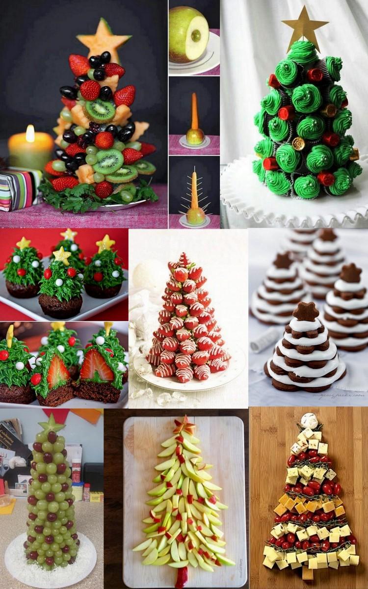 árvores de natal de frutas, doces e salgadas