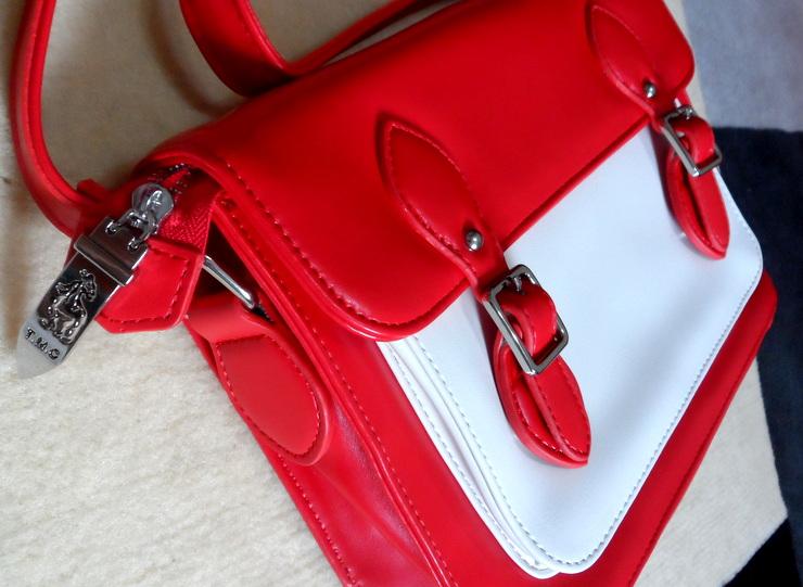 Bolsa Bicolor Vermelha e Branca Romwe