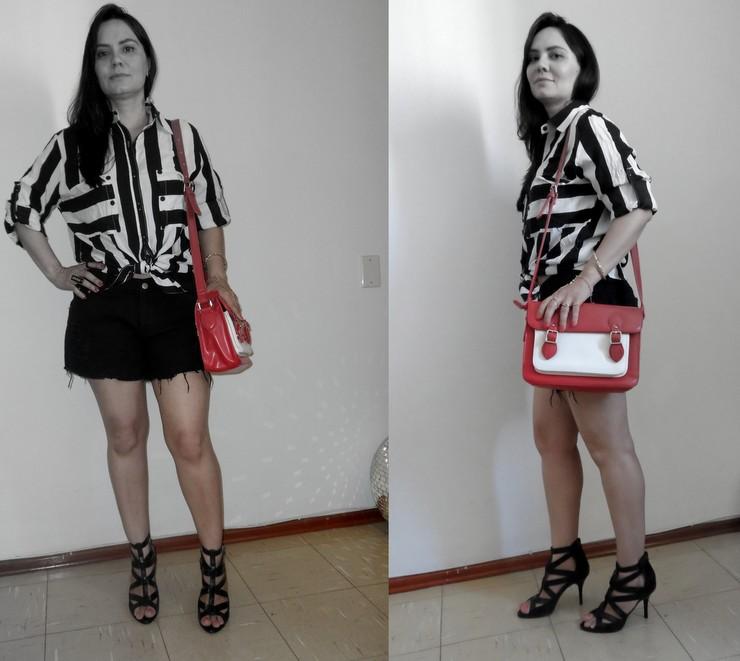 Look preto e branco com bolsa bicolor Romwe