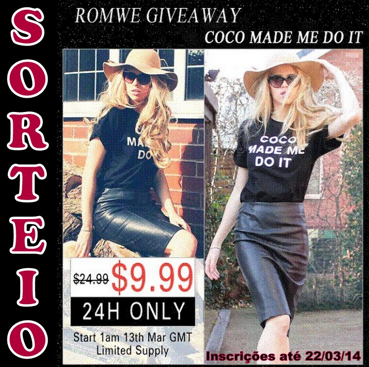 "Sorteio ""COCO MADE ME DO IT"" Black T-shirt Giveaway"
