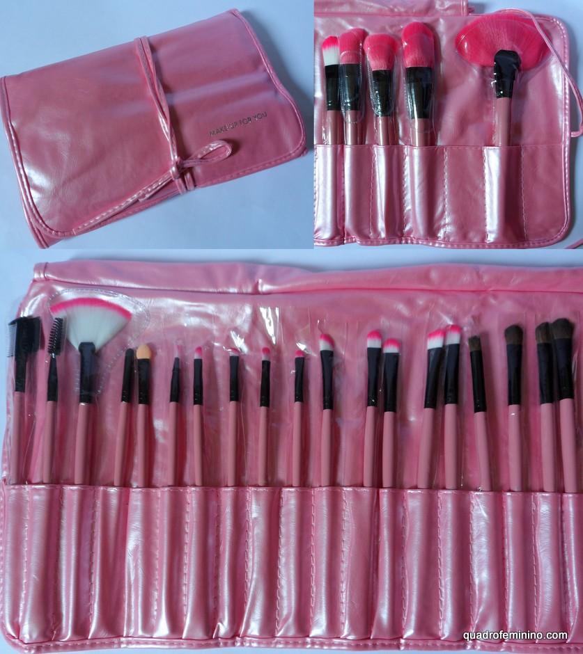 Kit de pincéis rosa
