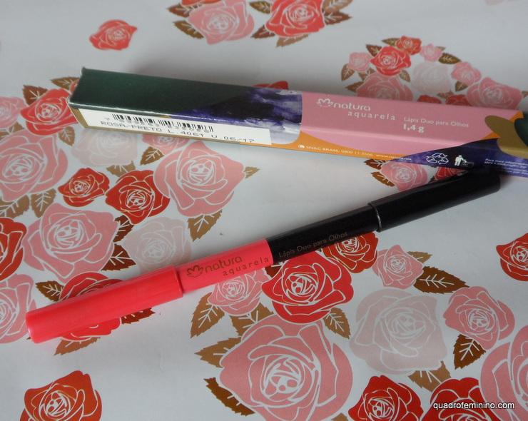 Lápis Duo Para Olhos Natura Aquarela - preto e rosa