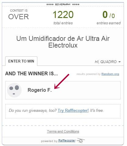 Novo Resultado – Sorteio Umidificador de Ar Ultra Air Electrolux 2