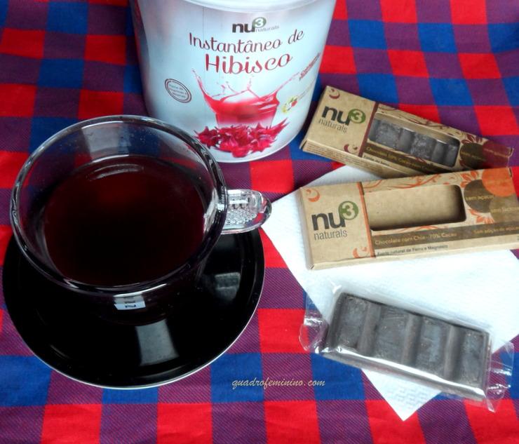 Chá de Hibisco com Colágeno e Chocolate com Chia NU3