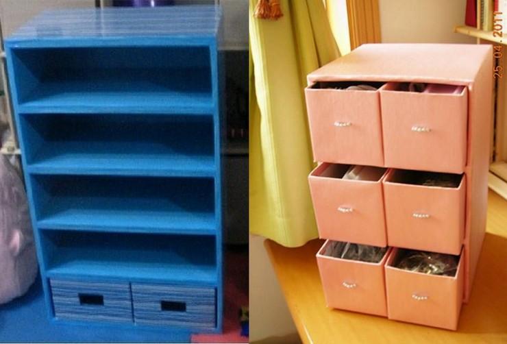 organizadores feitos com caixas de papelão