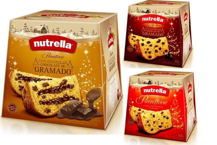 Panetones Nutrella - Nutrella com Recheio de Chocolate de Gramado, Gotas de Chocolate de Gramado e Uvas Passas e Frutas Cristalizadas