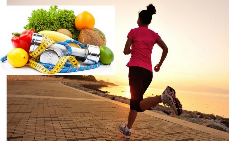 pacote alimentação saudável e exercícios físicos