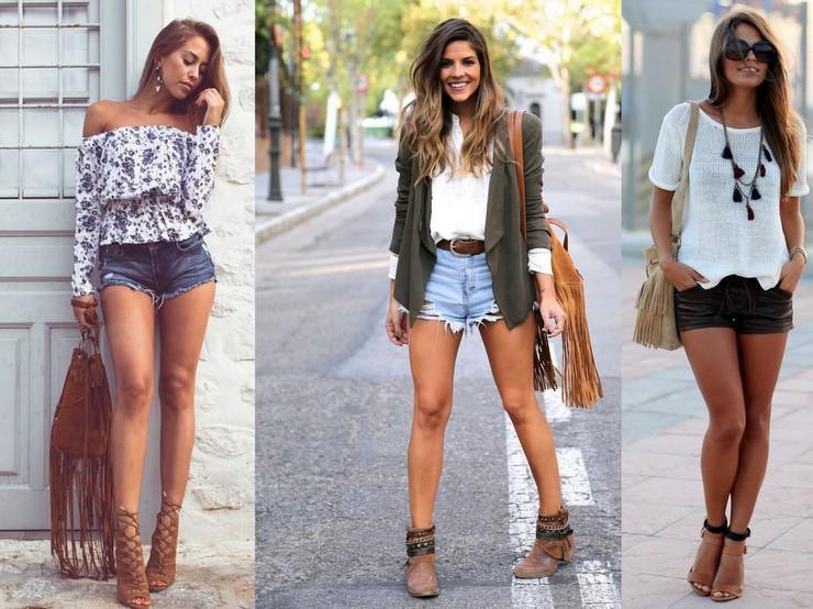 Shorts + Bolsas com Franjas