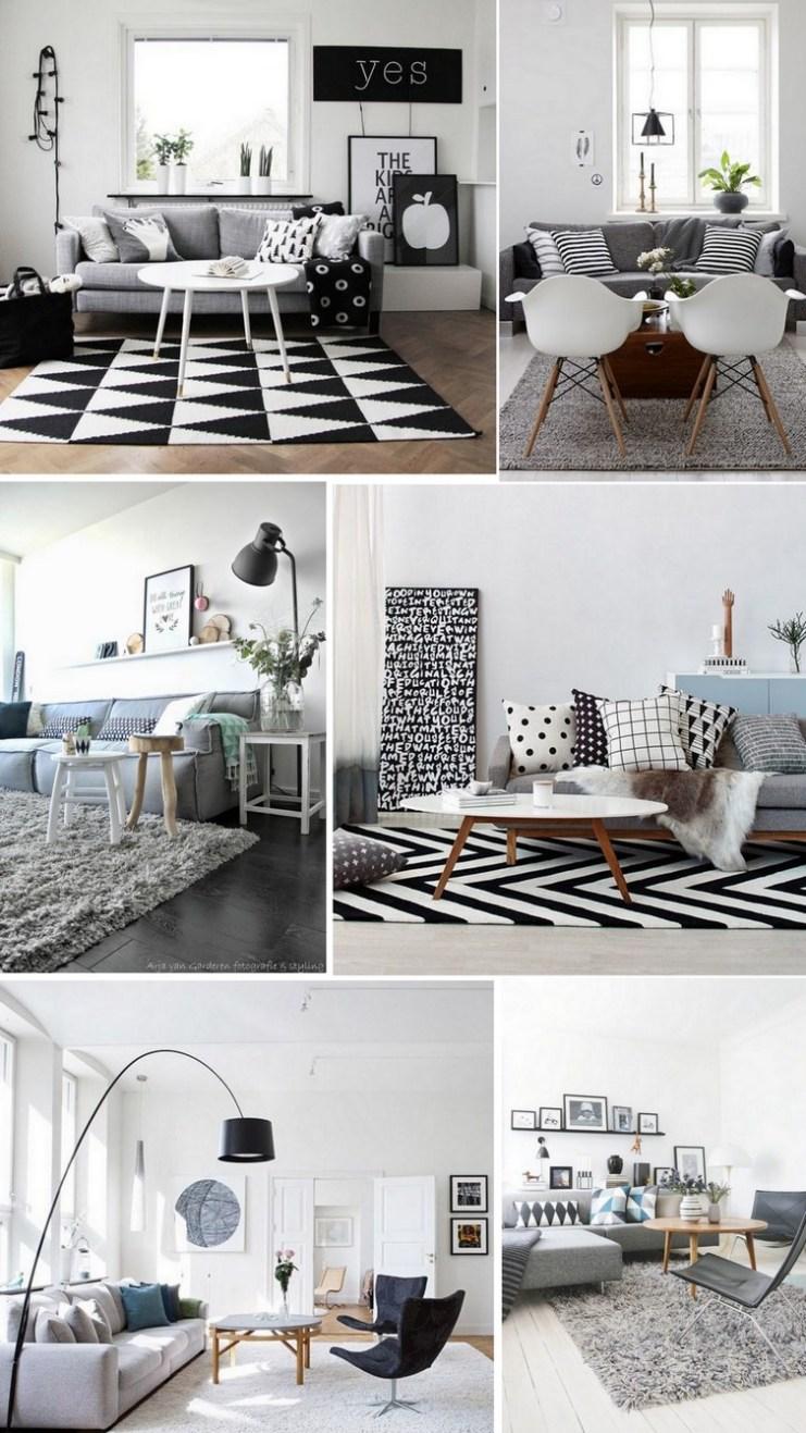 Sofá cinza - preto e branco
