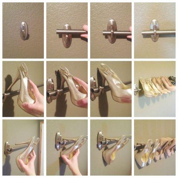 Organizar sapatos - ganchos e barras
