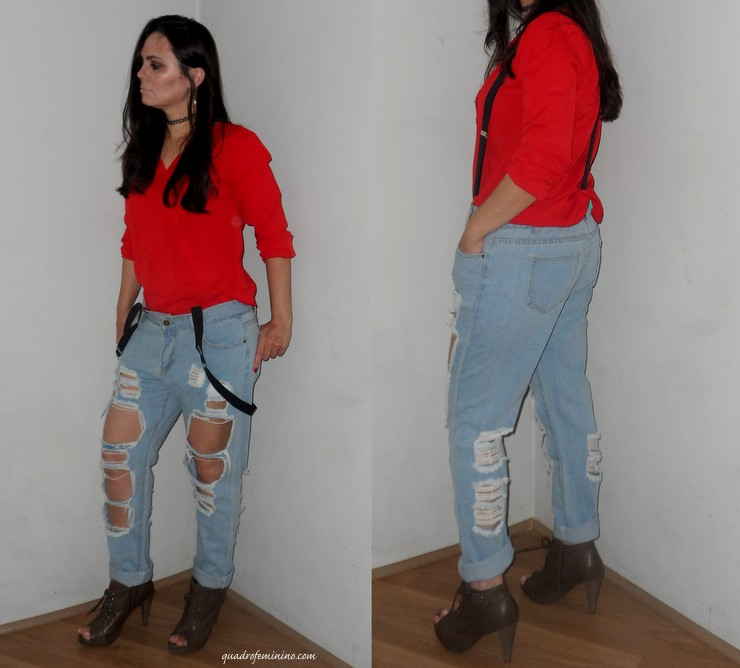 Look CNDirect - Jeans destroyed, camisa vermelha e suspensório