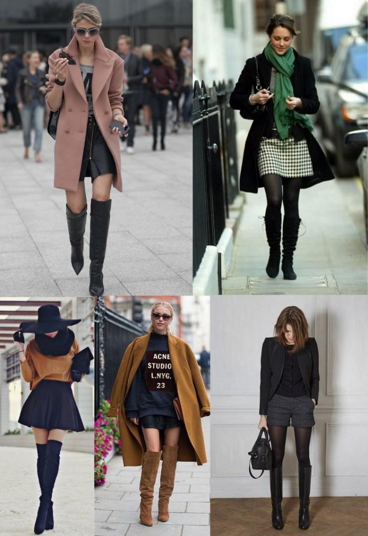 shorts e mini saias - botas no inverno