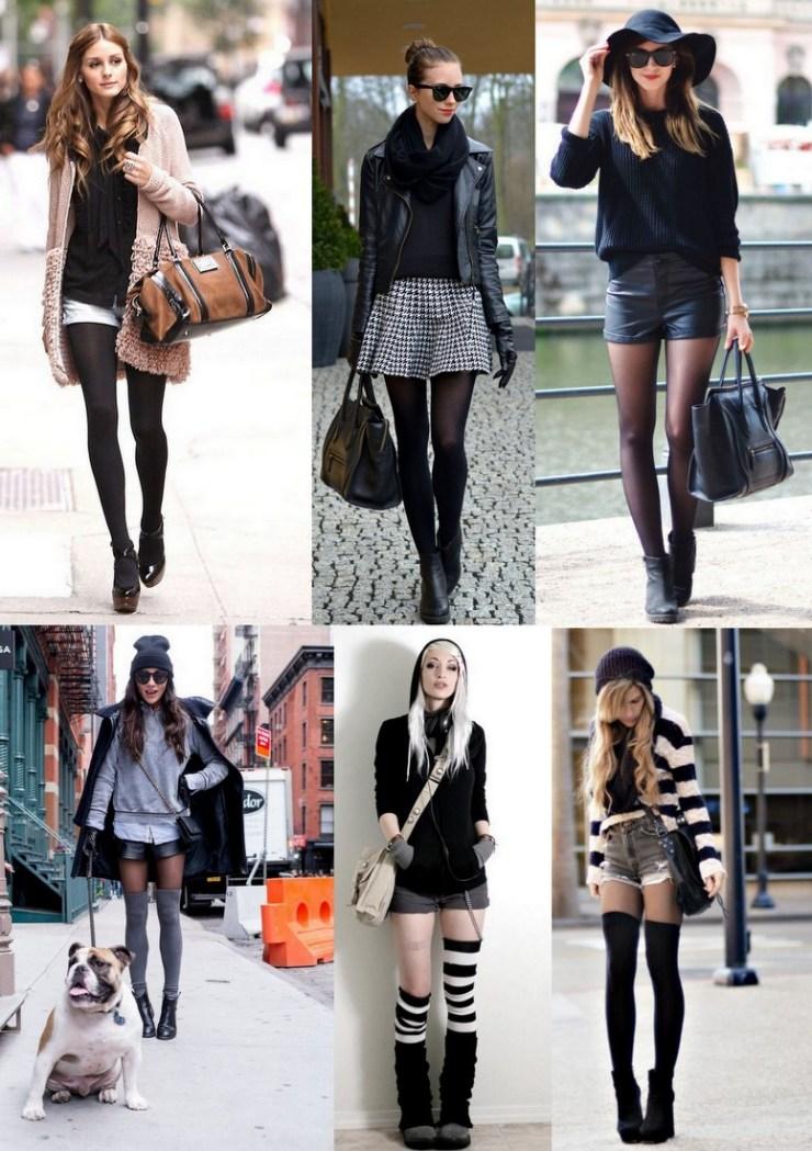 shorts e mini saias nos looks - inverno