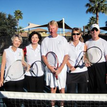 Quail Creek 2015 Tennis Tournament committee members: Pam Campbell, Nancy Larsen, Ian Meldrum, Cozette Smith and Carlo Pensyl. Missing: Gary Jones, Joanna Miller and Chuck Poffenbarger