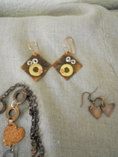 Creative Metalwork earrings and pendant