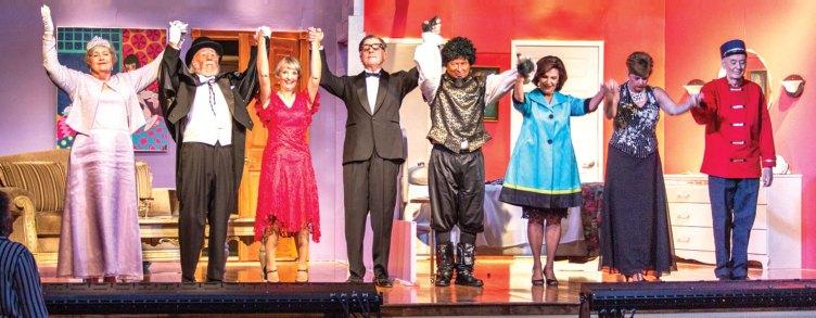 Left to right: Sandy Haegele, Jerry Smith, Pam Campbell, Davey Jones, Ray Hebert, Francesca Schelenski, Diana Paul and Jeff Webster; photo by Jeff Krueger