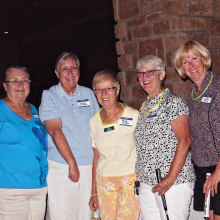 Left to right: Sylvia Butler, Wendy Van Dyck, Peggy McGee, Julie Hazelton and Susan Jones were the most successful Moonlight Madness team; photo by Sylvia Butler.