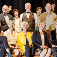 Directors and cast of the PAG production of Who's in Bed with the Butler: seated, Holly Crombie, Audrey Fatula, Sandy Boyer, Pam Campbell, Sandi Hrovatin; standing, Ray Hebert, Director Maggie Brown, Davey Jones, Assistant Director Diana Paul, Bill Humphry and Sandy Haegele