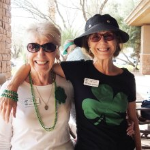 Carol Jackson (left) and Jenny McGinnis sported shamrocks; photo by Sylvia Butler.