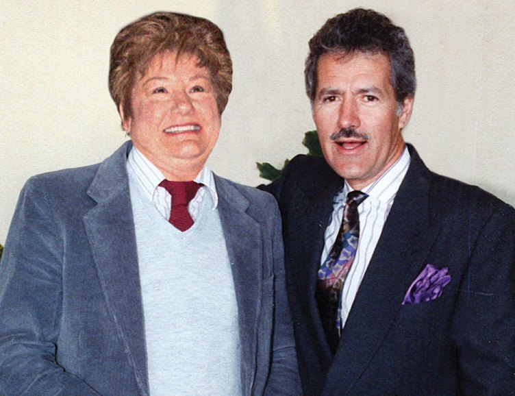 "Pam ""Alex Trebek"" Rodgers and the real man himself; photo courtesy of Doug Mutter and Janice Swaim"