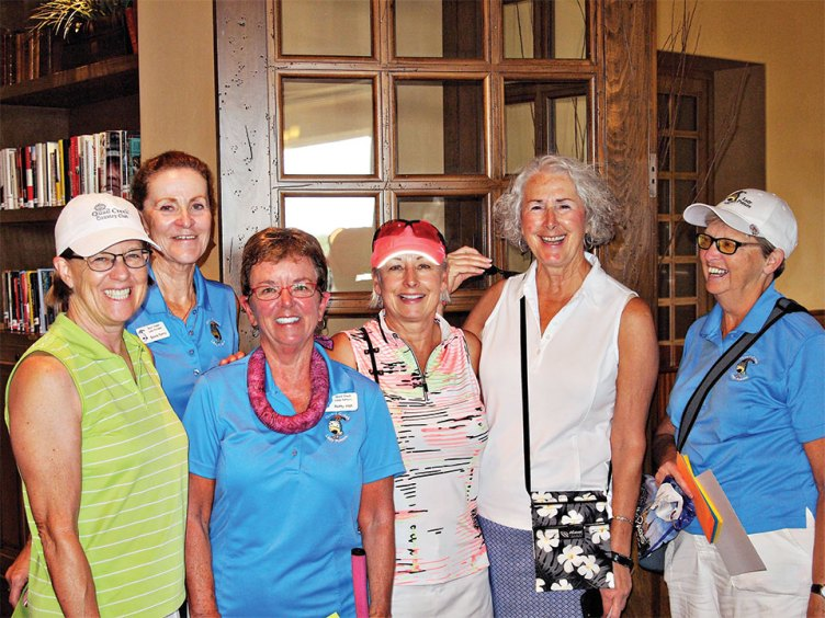 Left to right: 1st place team winners were Rose Welliver, Sylvia Perry, Patty Hall and Kathy Stotz shown with the two club Presidents Chris Gould and Cathy Thiele; photo by Sylvia Butler