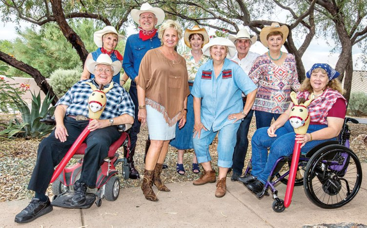 Some of the country folks you will see in PAG's A Country Christmas (Down on the Farm). From left: Jim Emery, Pam Campbell, Davey Jones, Cyndy Gierada, Dodie Prescott, Carole Keane, Paul White, Diana Paul and Donna Smith; photo by Jeff Krueger