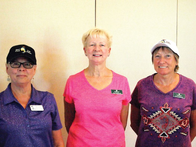 Left to right: Monte Hudson, Judy McKinley and Ruth Spiegel each scored under 40 in their first month as Putters; photo by Sylvia Butler