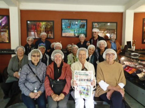 Joyce Shumate and 17 Quail Creek friends traveled to Colonial Mexico visiting the ancient mine Eden and taking their Crossing copy with them.