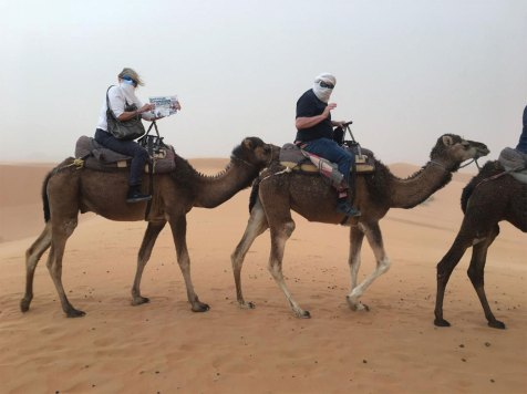 Portia Griggy and Patrick Nigro blazing new trails during a Sahara Dessert haboob - and still managed to read the Crossing.