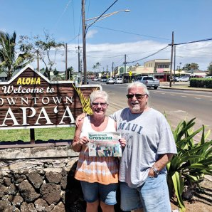 Mae and Michael Aarons are enjoying ocean breezes and warm temperatures visiting Kapa, Kauai, Hawaii along with their copy of the Crossing.