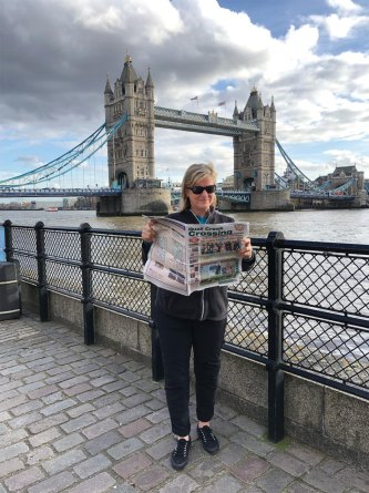 Dulcie Haugen traveled to London and had her picture taken in front of the famed bridge while keeping up with QC news.