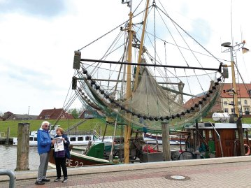 Whew! Steve and Delores Spencer just had enough time to read the last Crossing article before the shrimp boats came in at Greetsiel, Germany.