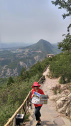 Laura Reilly traversing (hanging on!) the Yanshan mountain in China.