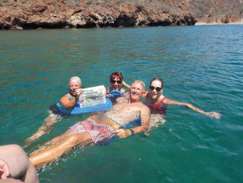 Having fun snorkeling in the Sea of Cortez in San Carlos, Mexico. From left to right: Nancy Katzberg, Bonnie Dean, Tom Dean and Sandy Veydt.