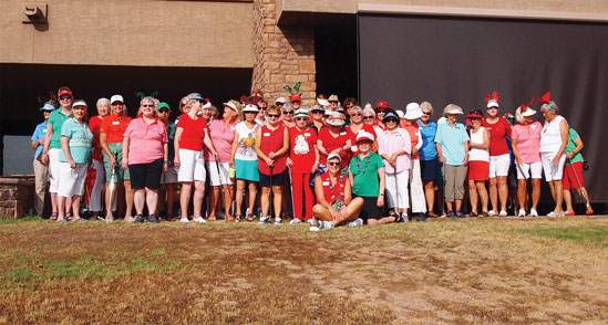 The majority of the Putters wore holiday colors on Christmas in July day. Photo by Sylvia Butler.