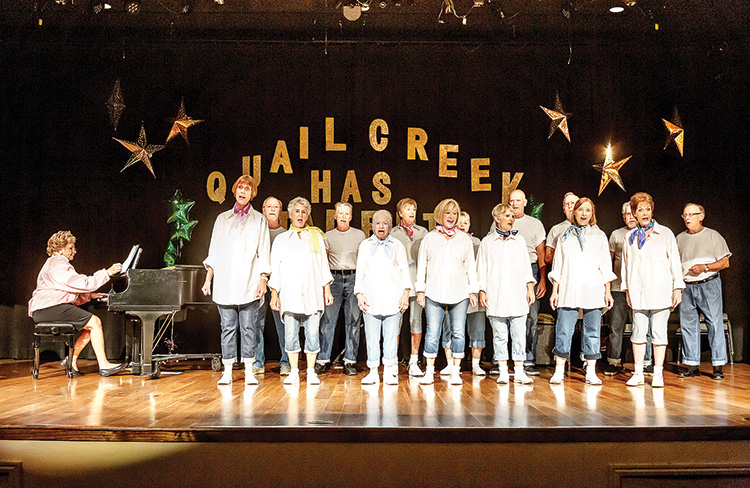 The Performing Arts Guild Mixed Chorus singing Back to the 50s at the Quail Creek's Got Talent show in August. They also will perform a special tribute for Pearl Harbor Day at the PAG Christmas Show on Dec. 5 to 7.