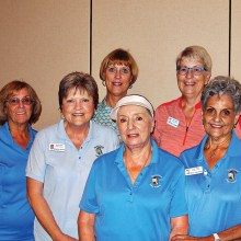 Left to right: Lee Schmidt, Kimberly Nichols, Ellen Entwistle, Frieda Hyles, Janet Wegner, and Alma Cavaletto all got at least five holes-in-one during one putting session. Photo by Sylvia Butler.