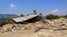 Community building destroyed by the quake