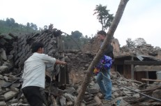 The collapsed remains of Kali's house. The family was conducting the new baby's naming ceremony when the earthquake struck. Kali, her husband and 8-year-old son, and her father-in-law were all buried in rubble but all (except her husband) managed to survive with minor injuries.